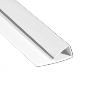 Polarex PC001 Satin White 2-Part End Profile for 2.5mm Hygienic PVC Wall Cladding